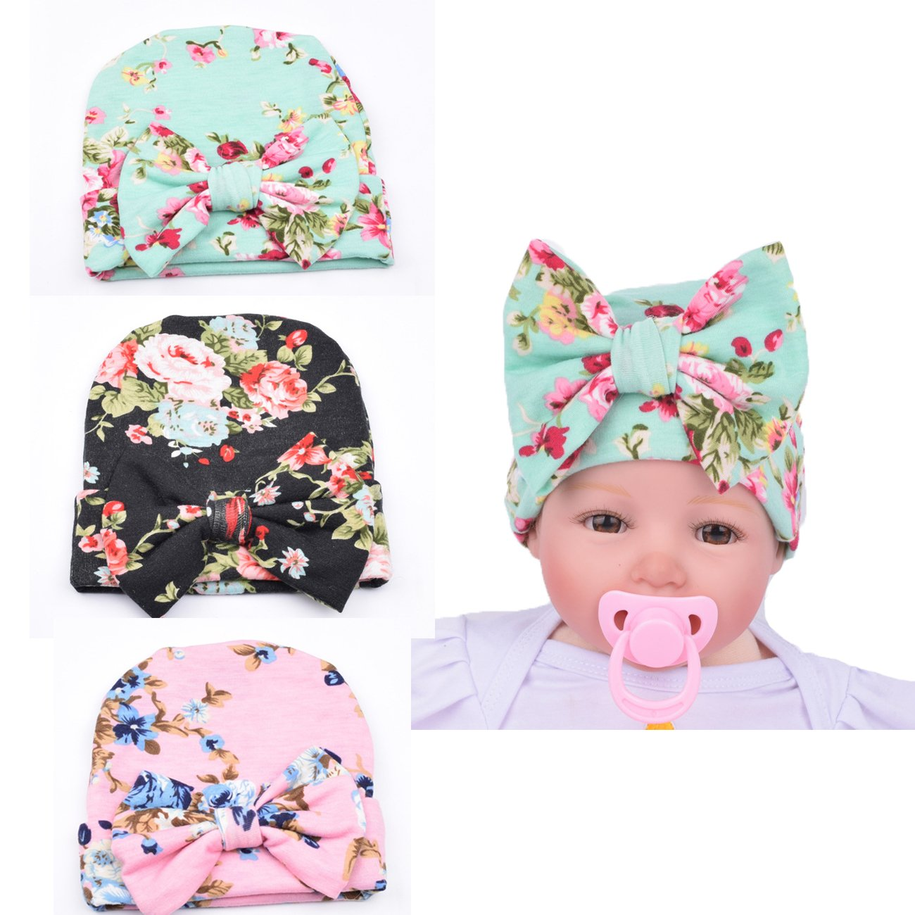 2a40d59f690 3 Pieces Newborn Head Wrap Baby Hat Infant Baby Hat Cap Girl Soft Cute  Turban with Big Bow Knit
