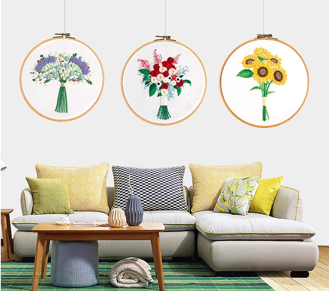 Plants Embroidery Starter Kit for Beginners with Patterns of 3 Sets Full Range of Cross Stitch Kit Supplies for Adults Kids