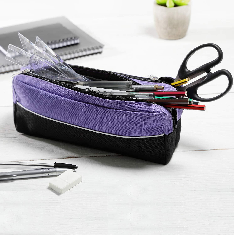 Arpan - Estuche de tela con cremallera doble, tamaño extragrande, ideal para la escuela, universidad, maquillaje 1 (morado): Amazon.es: Oficina y papelería