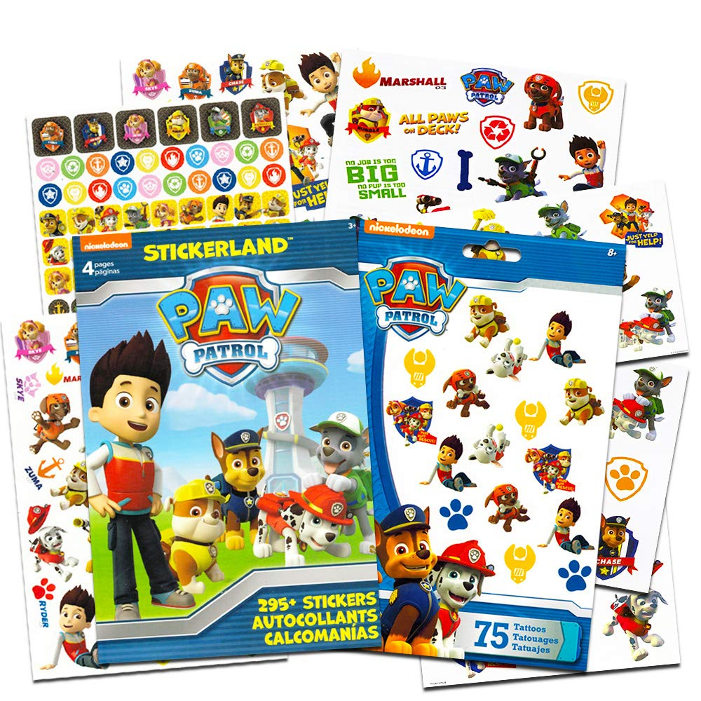 PAW Patrol Stickers & Tattoos Party Favor Pack (295 Stickers & 75 Temporary Tattoos) by Stickerland