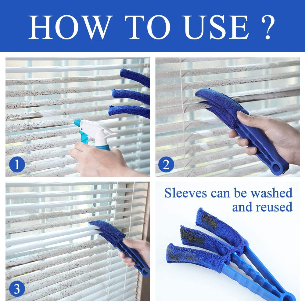 Hiware Window Blind Cleaner Duster Brush with 5 Microfiber Sleeves Blind Cleaner Tools for Window Shutters Blind Air Conditioner Jalousie Dust