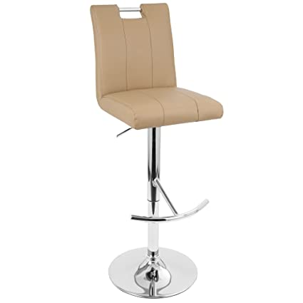 LumiSource Bar Height Adjustable With Swivel Contemporary Barstool Camel
