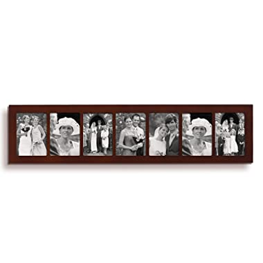 Adeco 7 Openings Deocrative Walnut Wood Divided Wall Hanging Collage Wedding Picture Photo Frame - Made to Display Seven 5x7 Photos