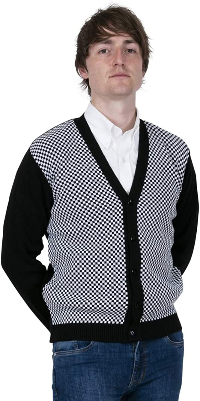 Relco Mens Black /& White Check Cardigan
