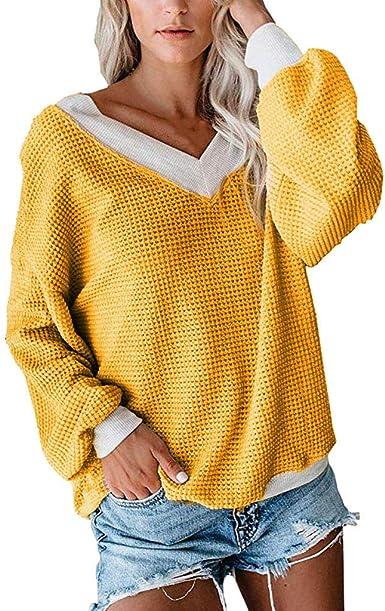 OverDose Jerséis Casual para Mujer Camisas De Punto Camisas ...