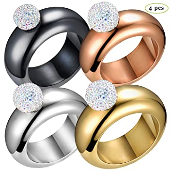 9c8c209fd1a29 Humphrey Amelia Pack of 4 Bangle Bracelet Flask with Rhinestones Lid and  Funnel (Silver Rosegold Black Gold with Crystal Lid)