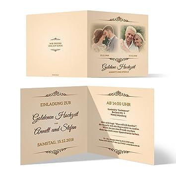 20 X Goldene Hochzeit Einladungskarten Goldhochzeit Einladungen 50 Jahre Zeitsprung
