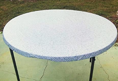 Amazoncom Fitted Round Elastic Edge Blue Mosaic Vinyl Tablecloth