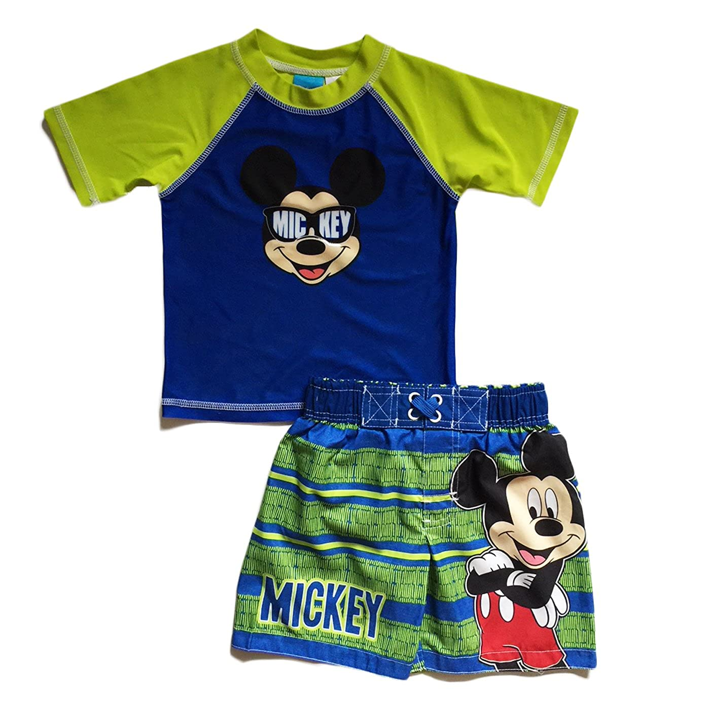 Dreamwave Disney Mickey Mouse Little Boys Toddler Swim Trunks and Rash Guard Shirt Set (2T)