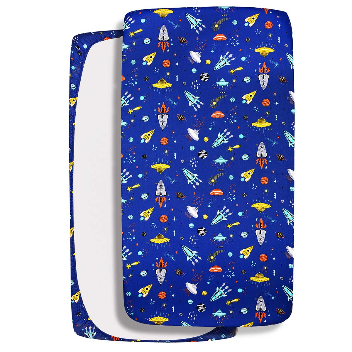 UOMNY Crib Sheet 100% Cotton Fitted Crib Sheet Baby Sheet for Standard Crib and Toddler mattresses Nursery Bedding Sheet Crib Mattress Sheets for Boys 1 Pack Spaceship Blue