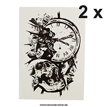 Reloj + Calavera Cuerpo - Adhesivo XL temporäres piel Tattoo hb390, Negro, 2 x uhr HB390 Tattoo: Amazon.es: Hogar