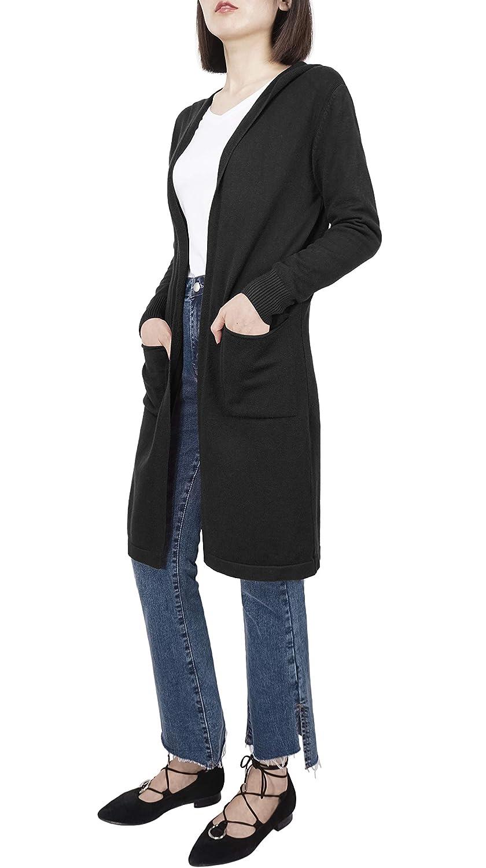 DYLH Cardigan Donna Lungo Maglione Maglia Sweater Cappotto Anteriore Aperto con Tasca Maglioni Autunno Inverno Rosso Beige Blue Nero