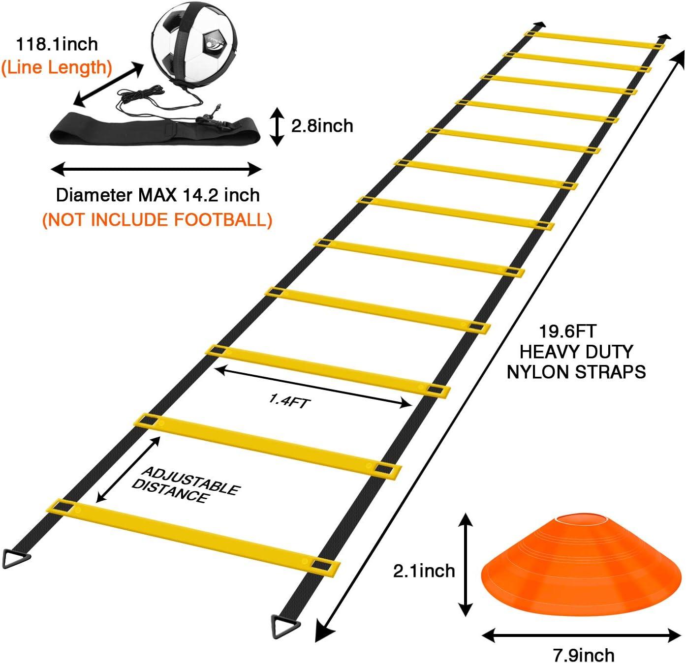 10 pi/&eg Tbest Kit de Train dagilit/é de Vitesse /équipement de Formation de r/ésistance /à la Vitesse d/échelle dagilit/é Ensemble d/équipement de Formation dagilit/é /Échelle Plate de 19 Pieds