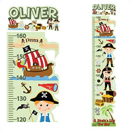 Personalised Height Chart for Kids Pirates Sticker Growth Wall Decal Vinyl For Boys Bedroom Nursery Childrens Blue Grey Colourful Wall Art for Height Measure StickersMagic