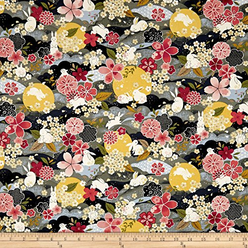 Fabri-Quilt The Moon Rabbit Oriental Floral Gray/Multi Fabric by The Yard Multicolor