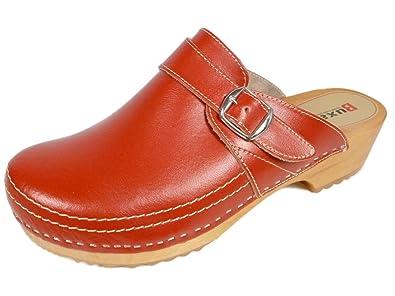 Buxa Unisex Rot Holz und Leder Clogs / Pantoletten, Fersenriemen, Größe 40