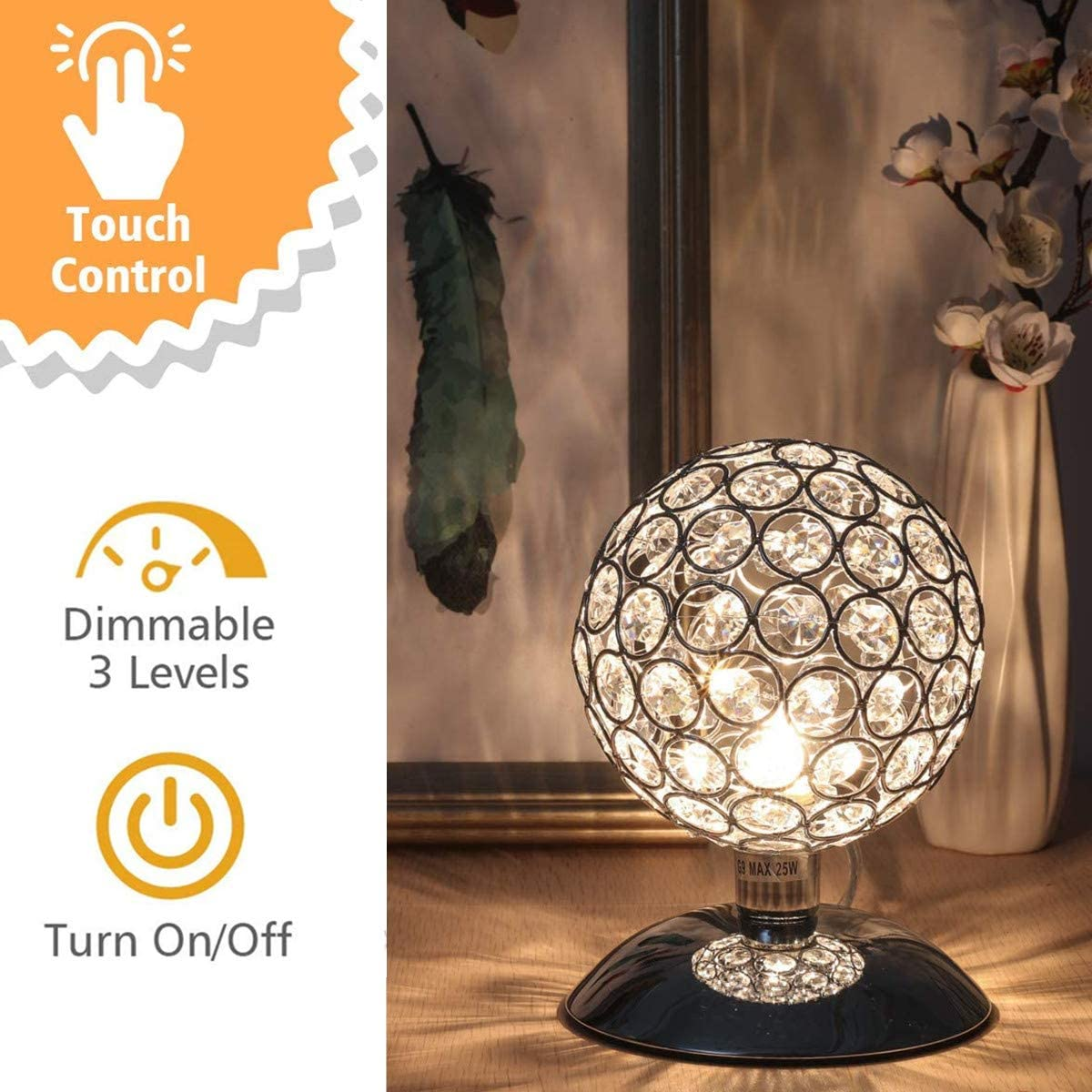 Tischlampe mit GLAS Lampenschirm über Berührungssensor dimmbar fürs Schlafzimmer
