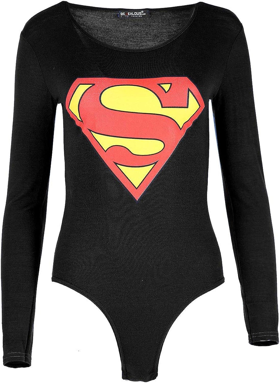 Fashion Star Women Batman Print Stretch Bodysuit Leotard Top
