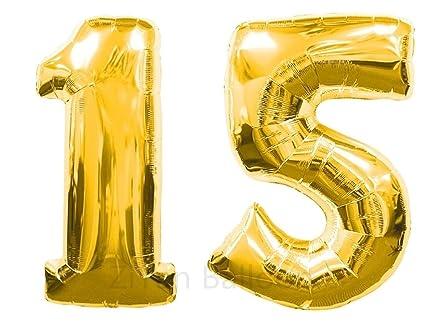 Amazon ZIYAN 40 Inch Giant 15th Gold Number BalloonsBirthday