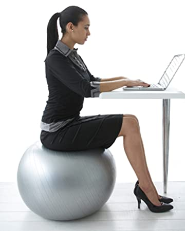 Exercise Ball Chair From CalCore, Professional Strength Antiburst Ball With  Hand Pump For Office,