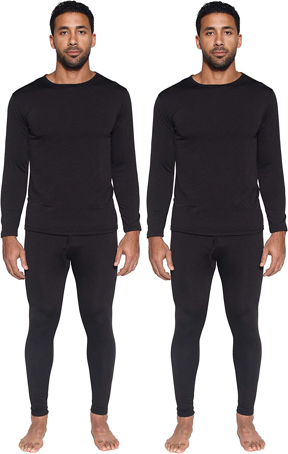 2 Mens Thermal Sets - Thermal Underwear for Men - Long Sleeve Top & Bottom Fleece Lined Long Johns for Men
