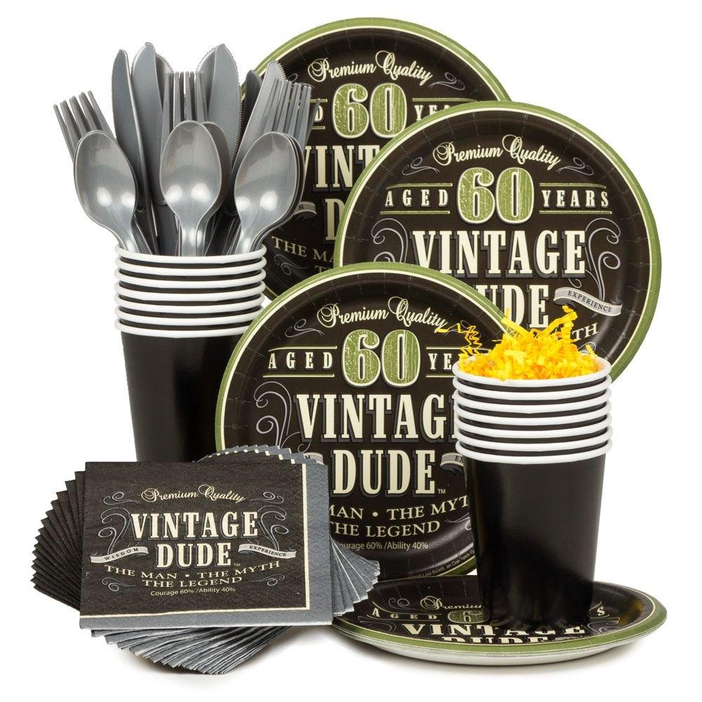 Costume Supercenter Vintage Dude 60th Standard Tableware Kit Serves 8
