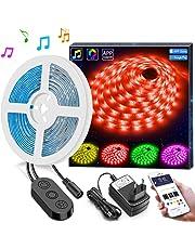 Minger 5 Metros Tira de Luz LED Controlada por APP, Tira Led Exterior RGB 5050 Impermeable, Cinta Tira Led para Hogar, Cocina, Porche, Oficina, Dormitorios, Etc.
