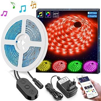 5m LED Streifen Lichter LED Band Synchronisierung zur Musik durch APP Kontrolle, Minger Wasserdichtes flexibles 5050 RGB, 12V