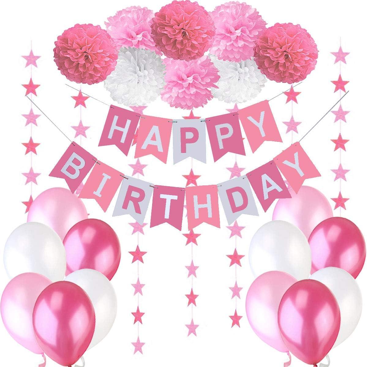 Geburtstag Dekoration Set Geburtstagsdeko Jungen Junge Kindergeburtstag Deko Happy Birthday Wimpelgirlande,8 Blumenpuscheln,6 Meter Girlande mit Sternen,12 Ballons Blau Wei/ß T/ürkis