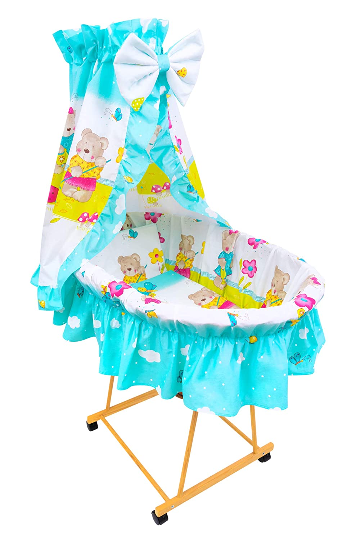 Amilian/® 9tlg Textile Ausstattung f/ür STUBENWAGEN Bollerwagen Himmel Matratze Baby Bettw/äsche Garten T/ürkis