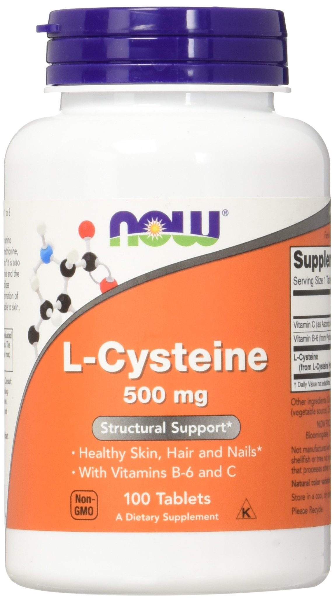 NOW L-Cysteine 500 mg,100 Tablets