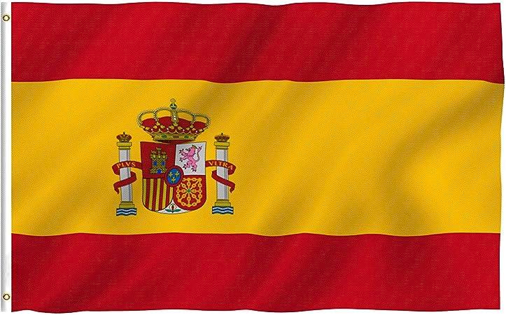 Bandera de España, Grande Bandera Nacional Española Poliéster 150 x 90 cm, con 2 Ojales de Latón: Amazon.es: Deportes y aire libre