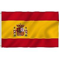Bandera de España, Grande Bandera Nacional Española Poliéster 150 x 90 cm, con 2 Ojales de Latón