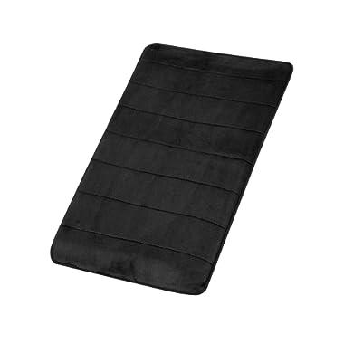 FindNew Non-Slip Soft Microfiber Memory Foam Bath Mat,Toilet Bath Rug,with Anti-Skid Bottom Washable Quickly Drying Bathroom mats (16  X 24 , Black)