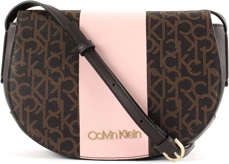 Calvin Klein Handtaschen Damen, Farbe Braun, Marke, Modell Handtaschen Damen Block Saddle Braun, Brown Mono Petal (Braun Rosa), única