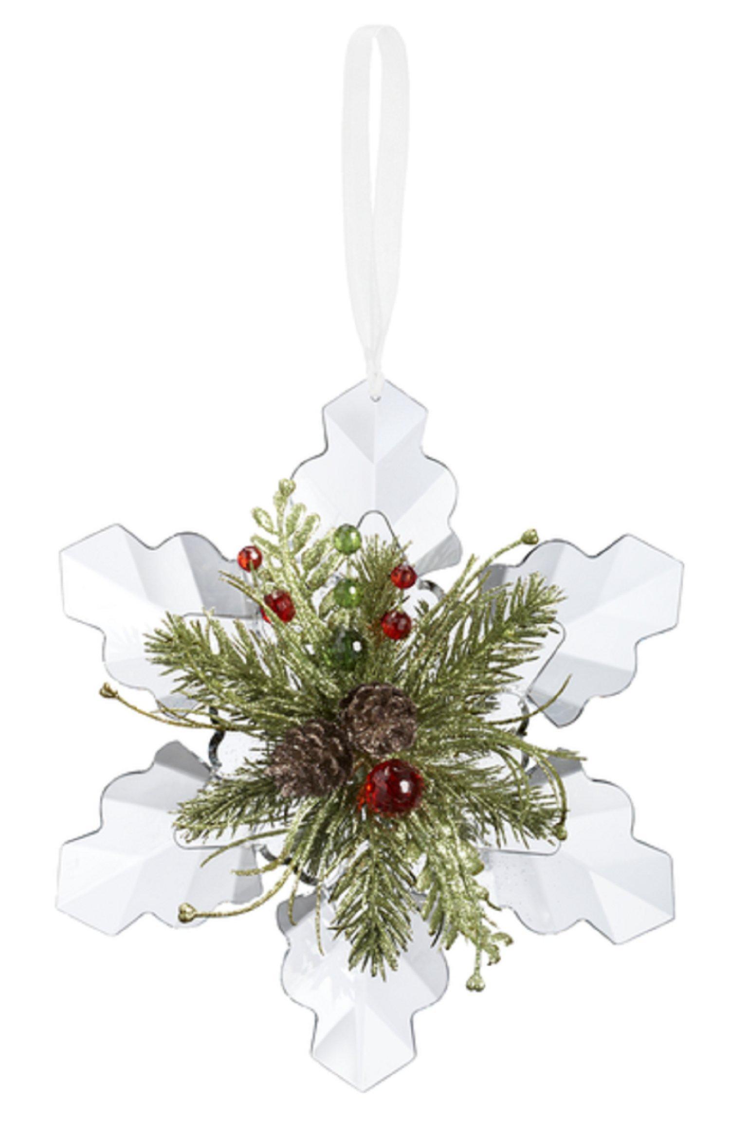 Mistletoe Crystal Snowflake Pine Ornament