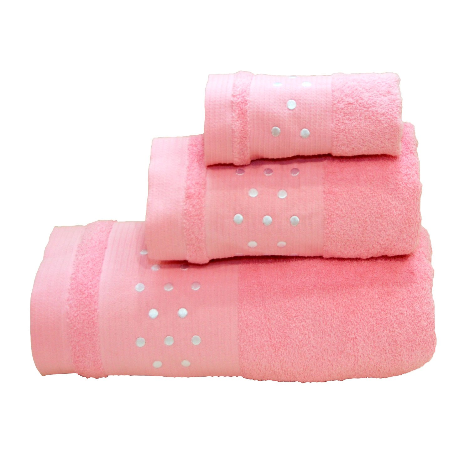 SPOTS BATH TOWELS - 3 PIECES SET - BATH SHEET + HAND TOWEL + FACE TOWEL - PINK W/ WHITE Maria Teixeira e Andrade Lda