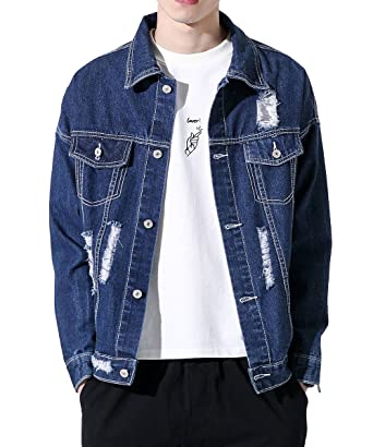 cdca2e67125 Men Casual Classic Batman Denim Jacket Loose Ripped Jean Lightweight Jacket  at Amazon Men s Clothing store