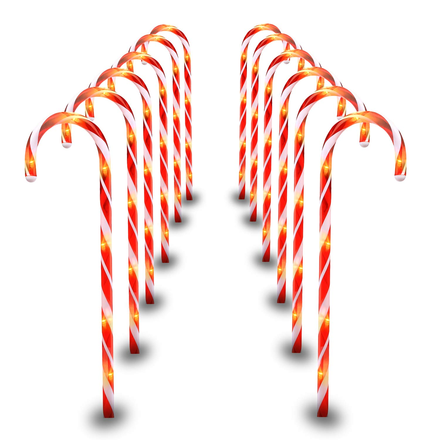 29 Inches Christmas Candy Cane Pathway Markers Set of 12 Christmas Indoor/Outdoor Decoration Lights 8 Blinking Modes by Luditek