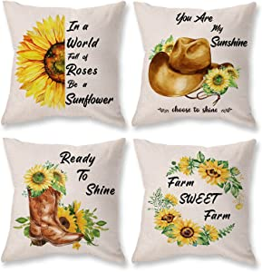 ONWAY Sunflower Pillow Covers 18 x 18 Set of 4 Summer Throw Pillow Cover Decorative Farmhouse Cowboy Boots Hat Theme Linen Outdoor Pillows for Sofa, Couch, Bed and Patio Furniture