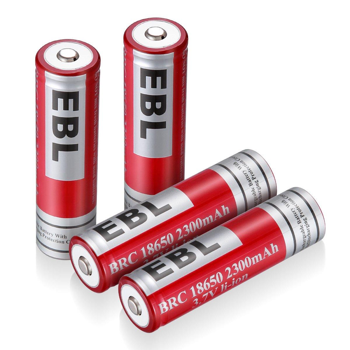 EBL 18650 Akkus 2300mAh 3.7V Li-Ionen wiederaufladbare Akkus 4 Stück