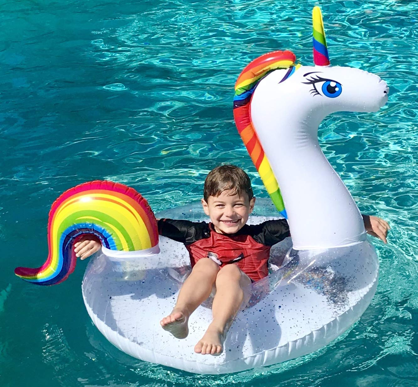 Unicorn Pool Floats for Kids - Glitter Filled - Ride ON Inflatable Unicorn Float for Pool Lake River RAFT - Giant… 9