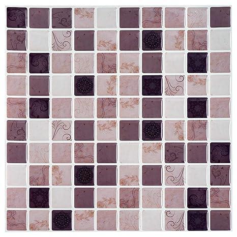 Ecoart Decorativos Adhesivos Para Azulejos Pegatina De Pared Azulejos De Gel Diseño De Mosaico Con Motivo Efecto 3d Cenefa Autoadhesivo Para Baño