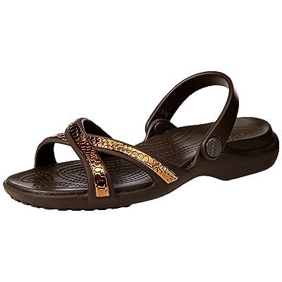 Crocs Women's Meleen Metallic Cross Band Slide Sandal   Sport Sandals & Slides
