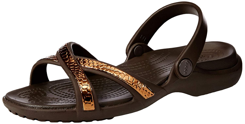 b25791b01 Amazon.com  Crocs Women s Meleen Metallic Cross Band Slide Sandal  Shoes