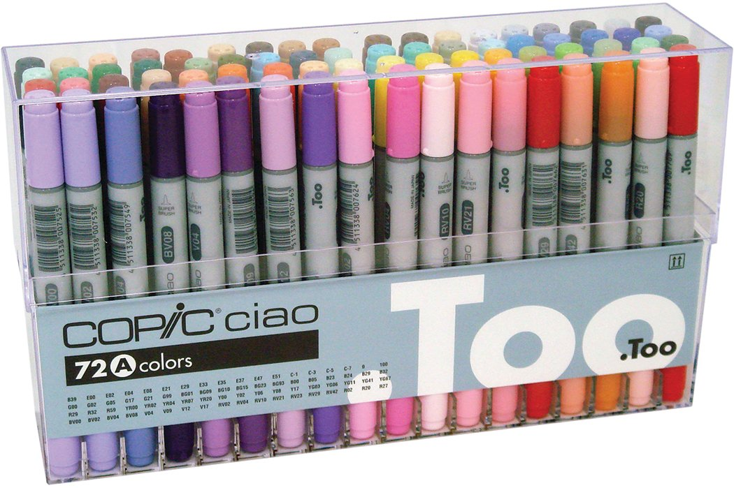 Copic Premium Artist Markers - 72 color Set A - Intermediate Level