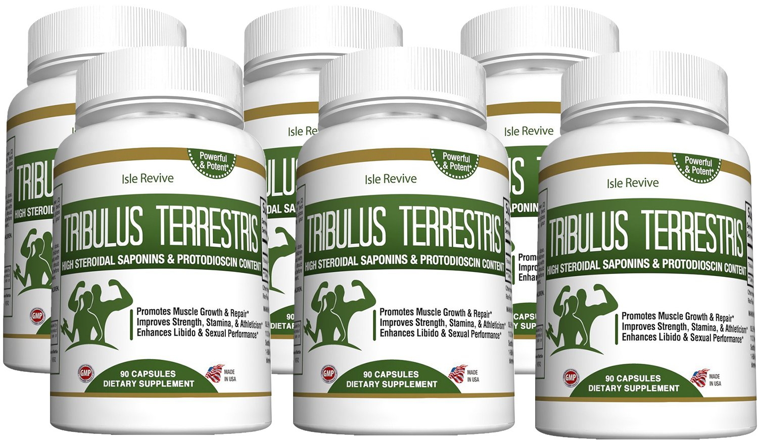 Tribulus Terrestris Testosterone Booster Capsules - Muscle Building Strength Endurance Energy Enhancer for Weight Loss Bodybuilding Performance 6 Bottles 90 Capsules Made in USA