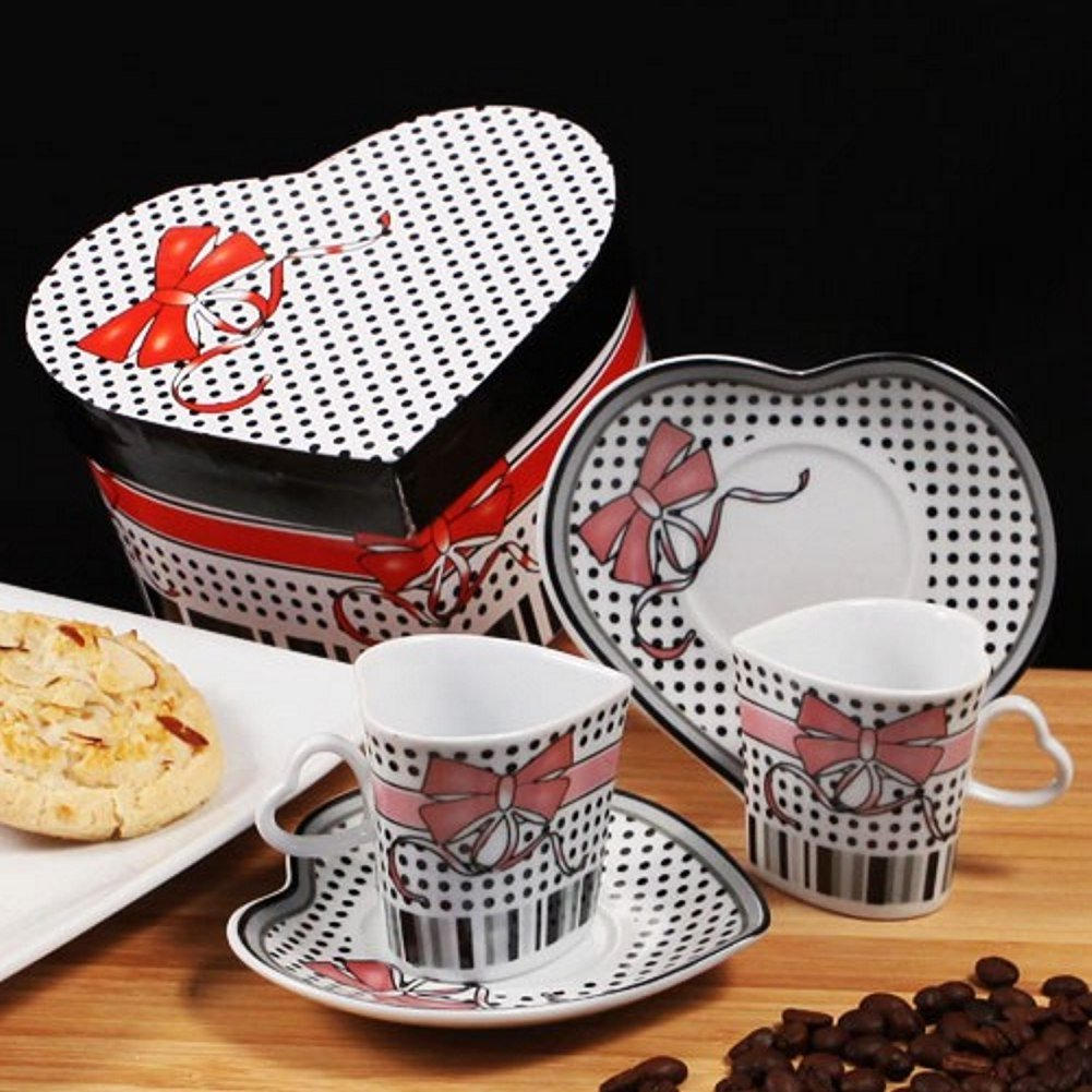 Bow Design Heart Shaped Espresso Set of 2 Cups and 2 Saucers - 84 Sets