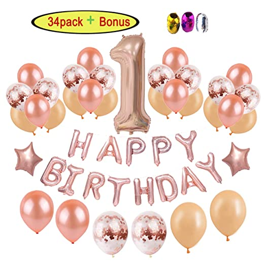 1er cumpleaños decoraciones para niña | oro rosa bebé primer ...