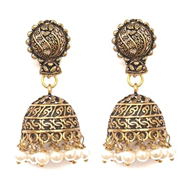 Amazoncom Pahal Ethnic Traditional Small Oxidized Gold Jhumka